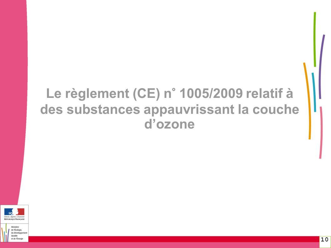 Le règlement (CE) n° 1005/2009 relatif à des substances appauvrissant la couche d'ozone