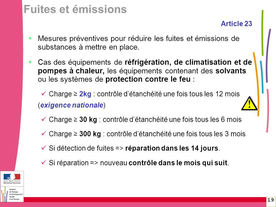 Fuites et émissions Article 23. Mesures préventives pour réduire les fuites et émissions de substances à mettre en place.