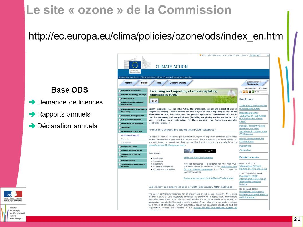 Le site « ozone » de la Commission