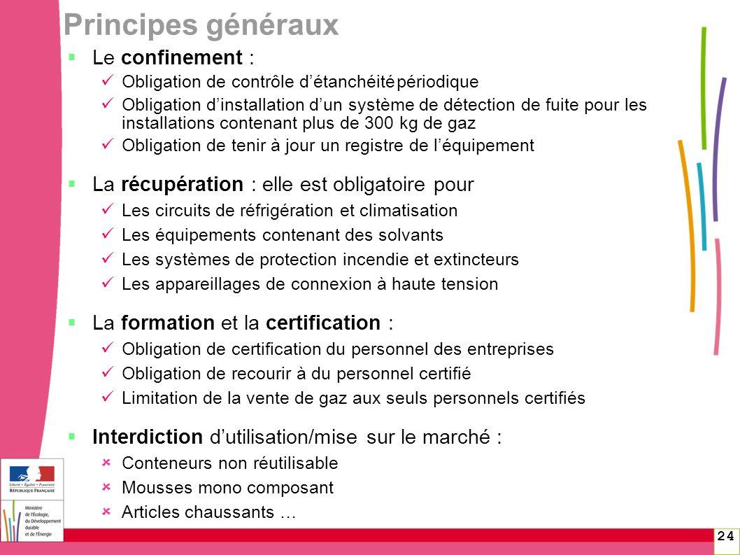 Principes généraux Le confinement :