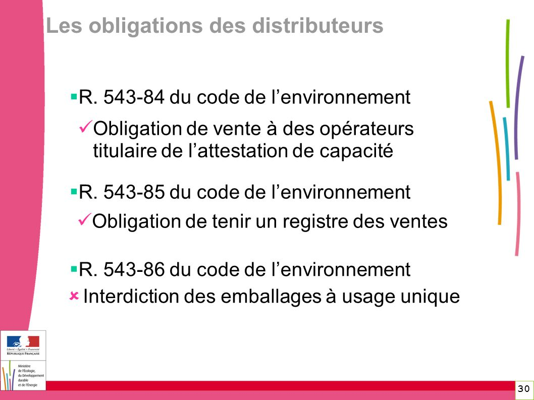 Les obligations des distributeurs