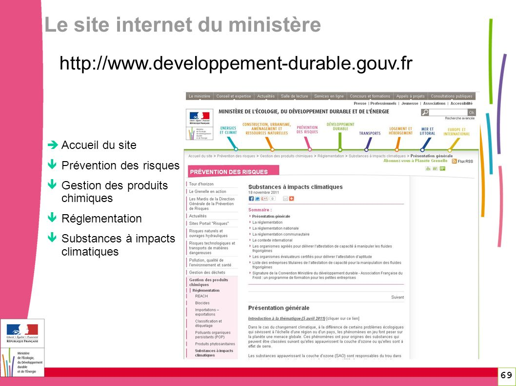 Le site internet du ministère