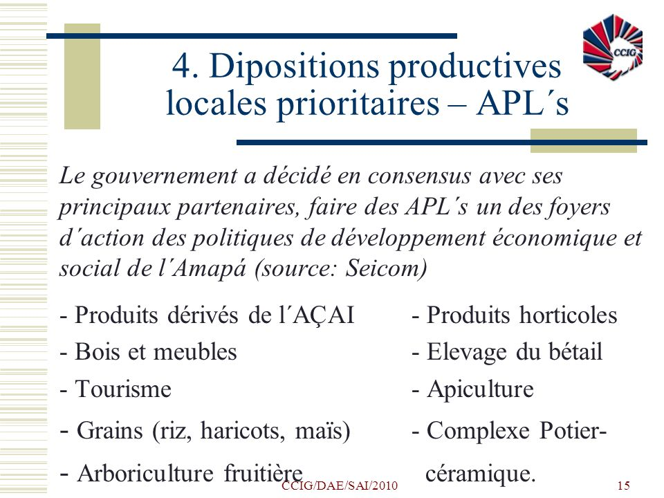 4. Dipositions productives locales prioritaires – APL´s