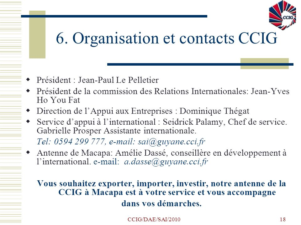 6. Organisation et contacts CCIG