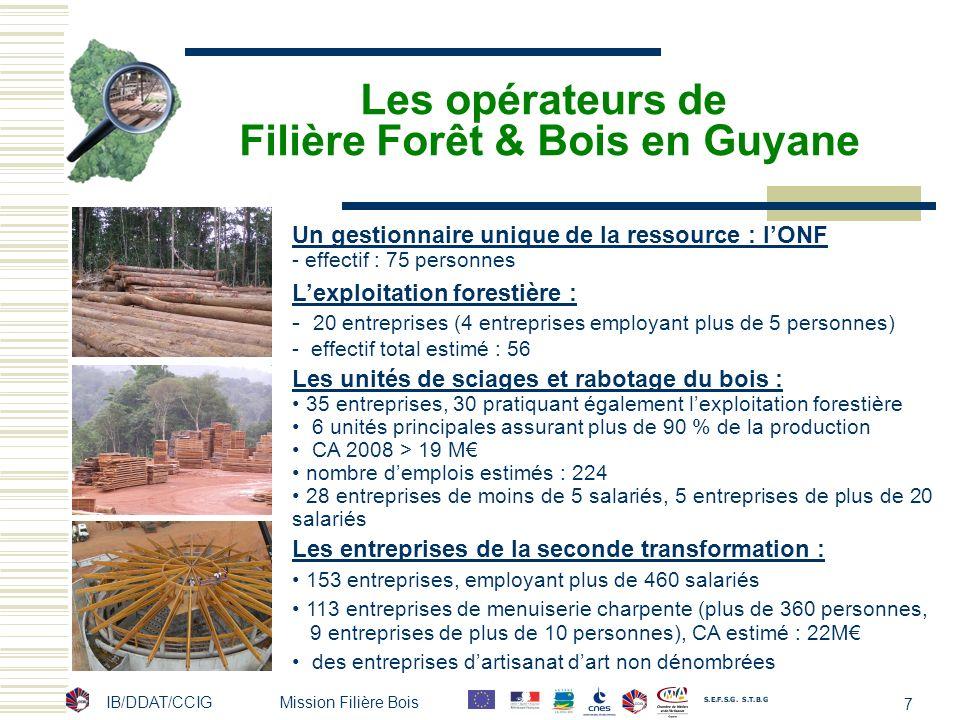 Les opérateurs de Filière Forêt & Bois en Guyane