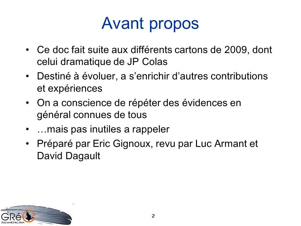 Avant proposCe doc fait suite aux différents cartons de 2009, dont celui dramatique de JP Colas.
