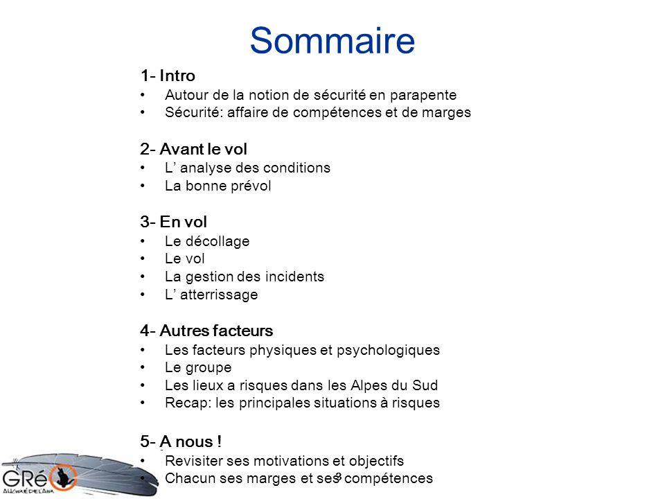 Sommaire 1- Intro 2- Avant le vol 3- En vol 4- Autres facteurs
