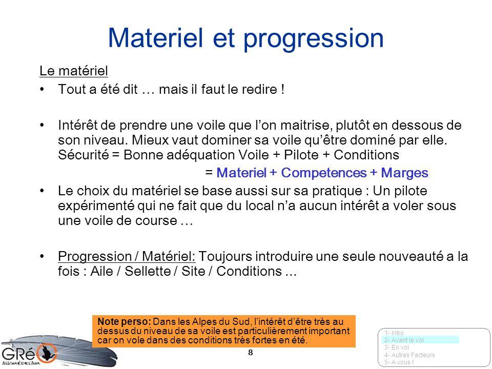 Materiel et progression