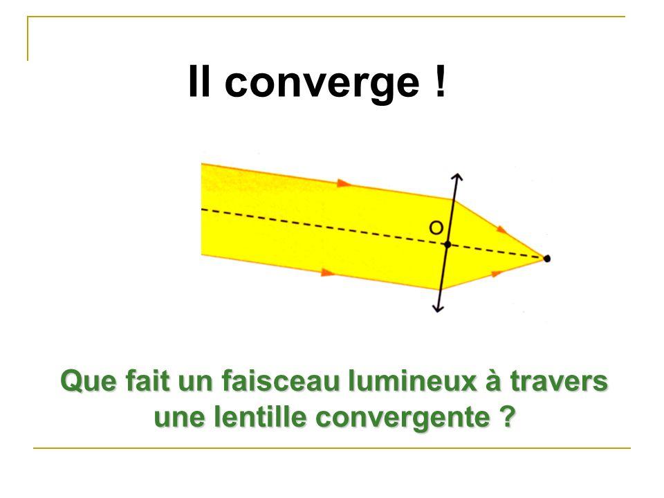 Que fait un faisceau lumineux à travers une lentille convergente