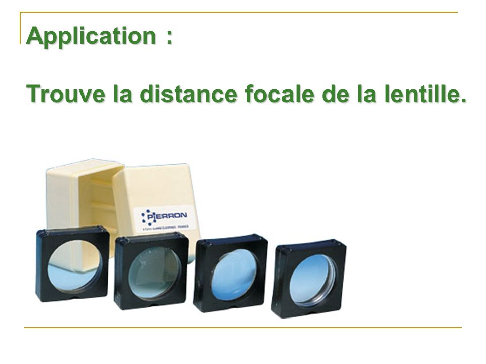 Application : Trouve la distance focale de la lentille.