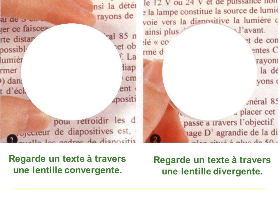 Regarde un texte à travers une lentille convergente.