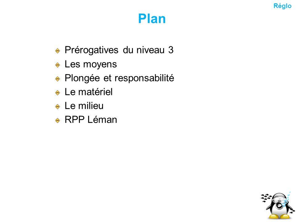 Plan Prérogatives du niveau 3 Les moyens Plongée et responsabilité