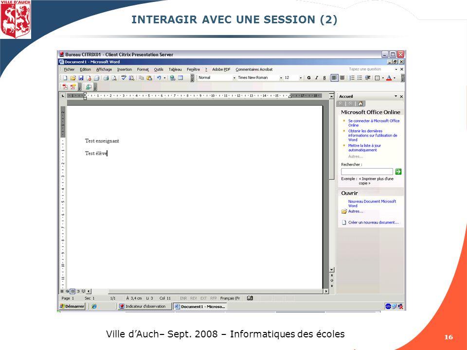 INTERAGIR AVEC UNE SESSION (2)