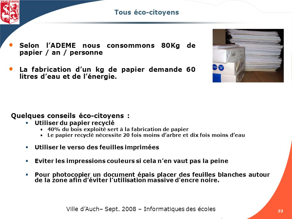 Ville d'Auch– Sept. 2008 – Informatiques des écoles