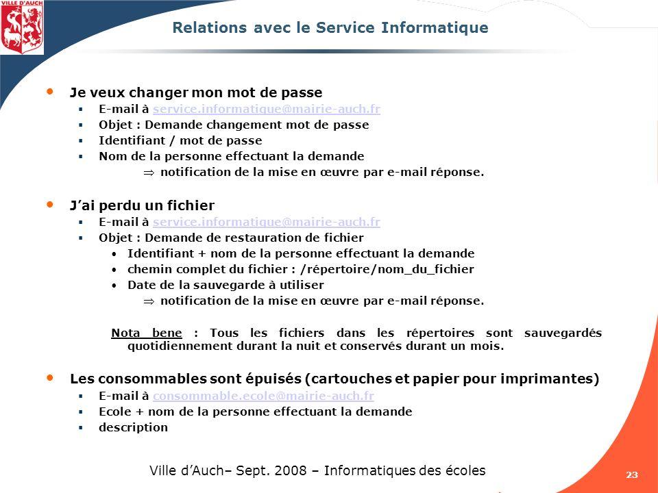 Relations avec le Service Informatique
