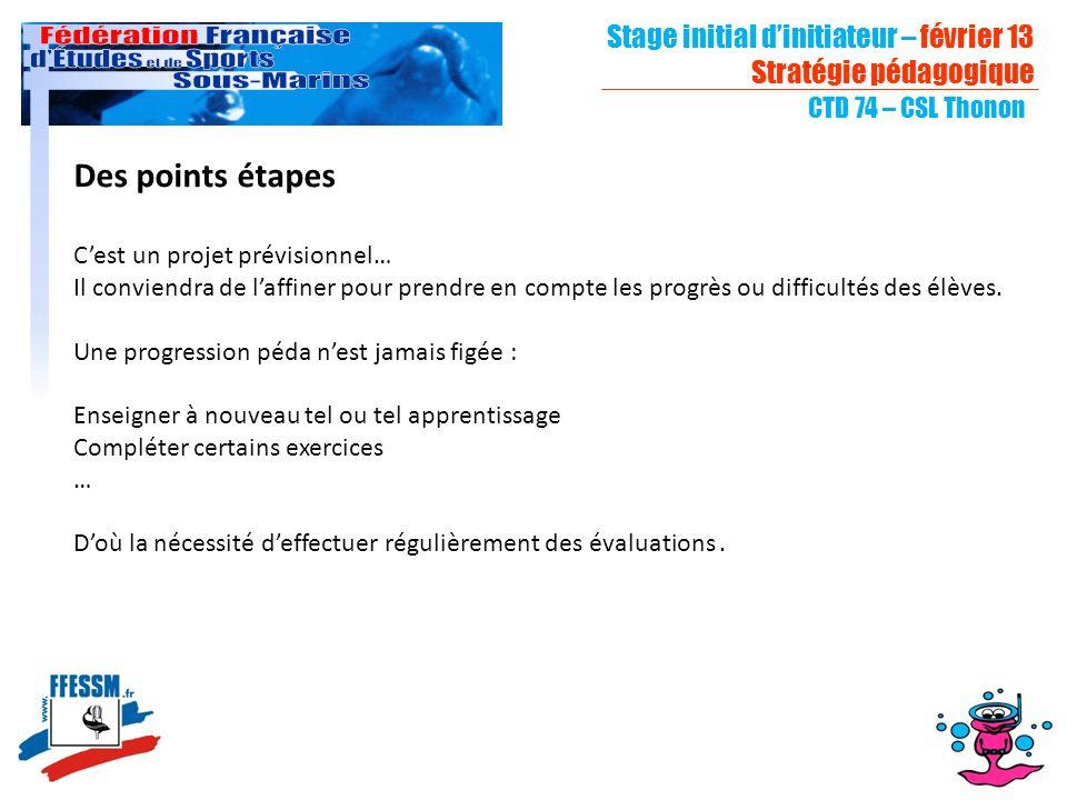 Des points étapes Stage initial d'initiateur – février 13