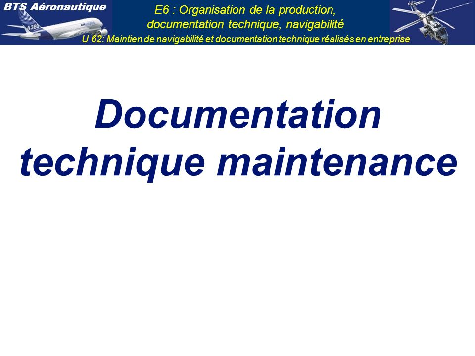 Documentation technique maintenance