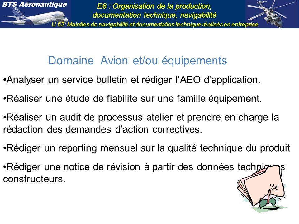 Domaine Avion et/ou équipements