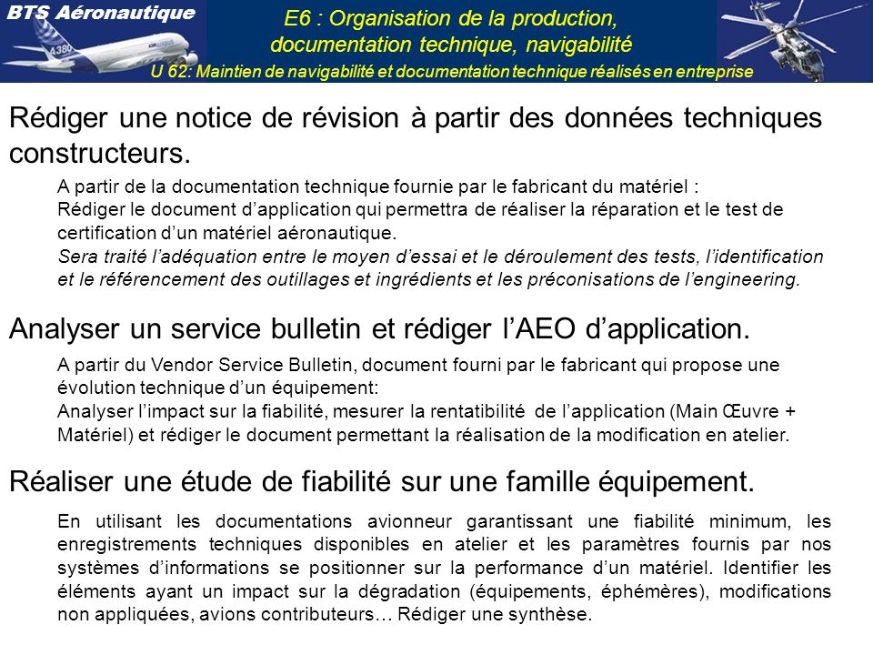 Analyser un service bulletin et rédiger l'AEO d'application.