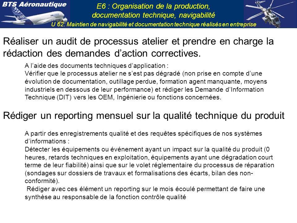 Rédiger un reporting mensuel sur la qualité technique du produit