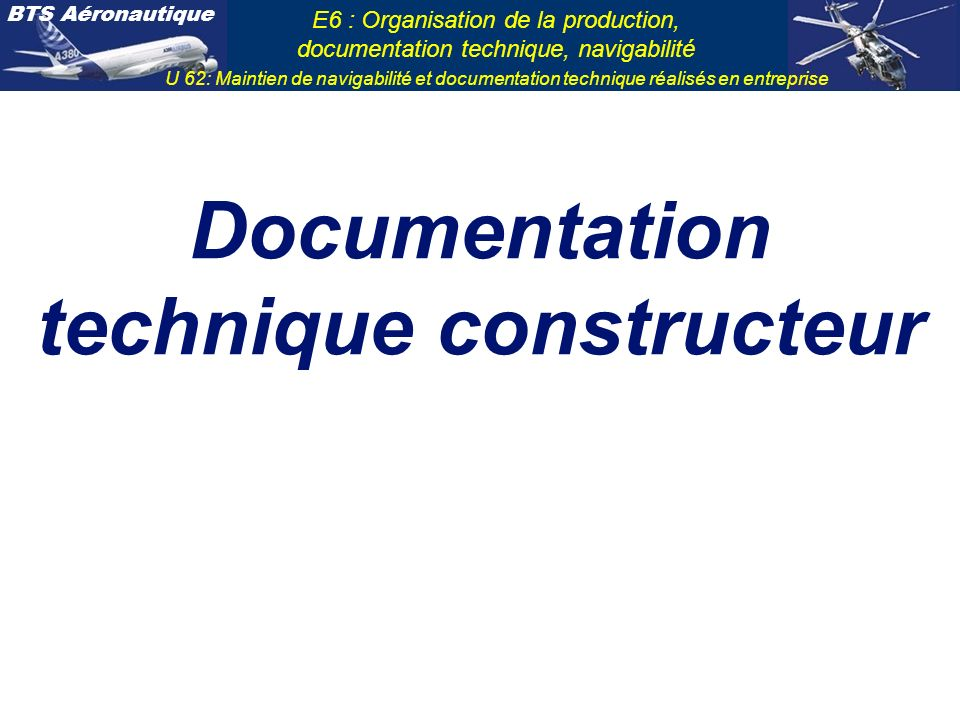 Documentation technique constructeur
