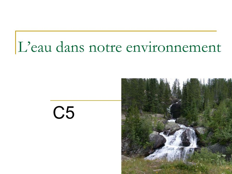 L'eau dans notre environnement