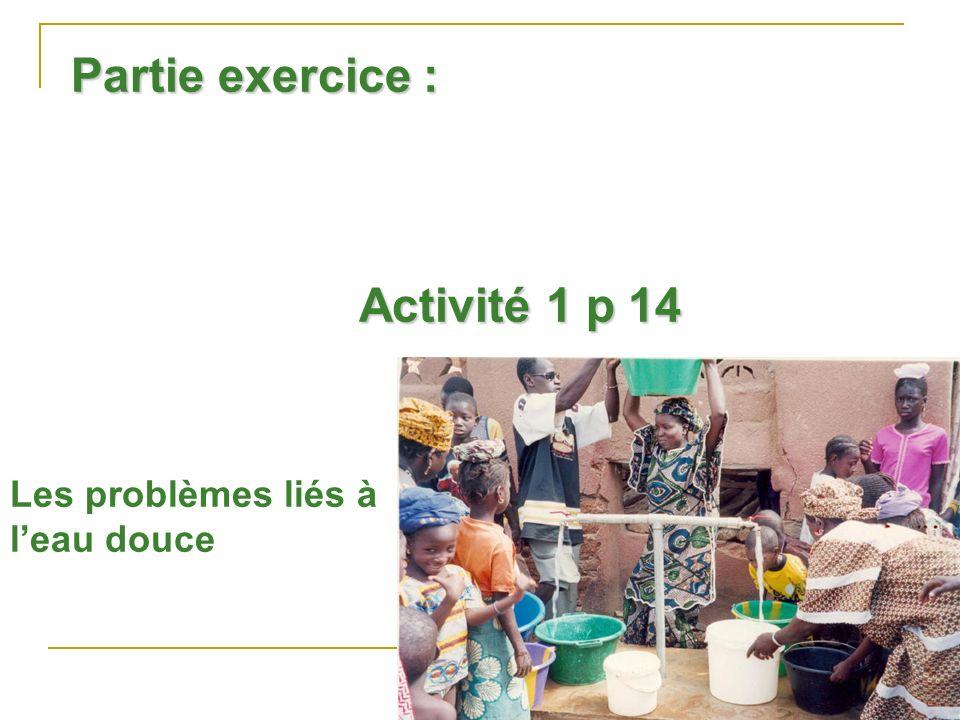 Partie exercice : Activité 1 p 14 Les problèmes liés à l'eau douce
