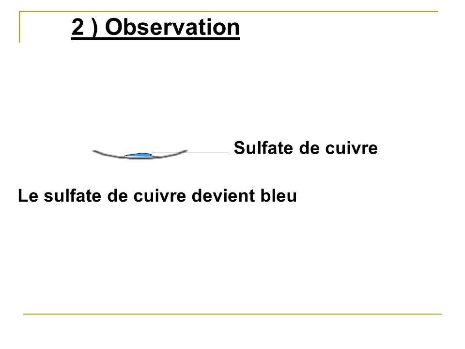 Le sulfate de cuivre devient bleu