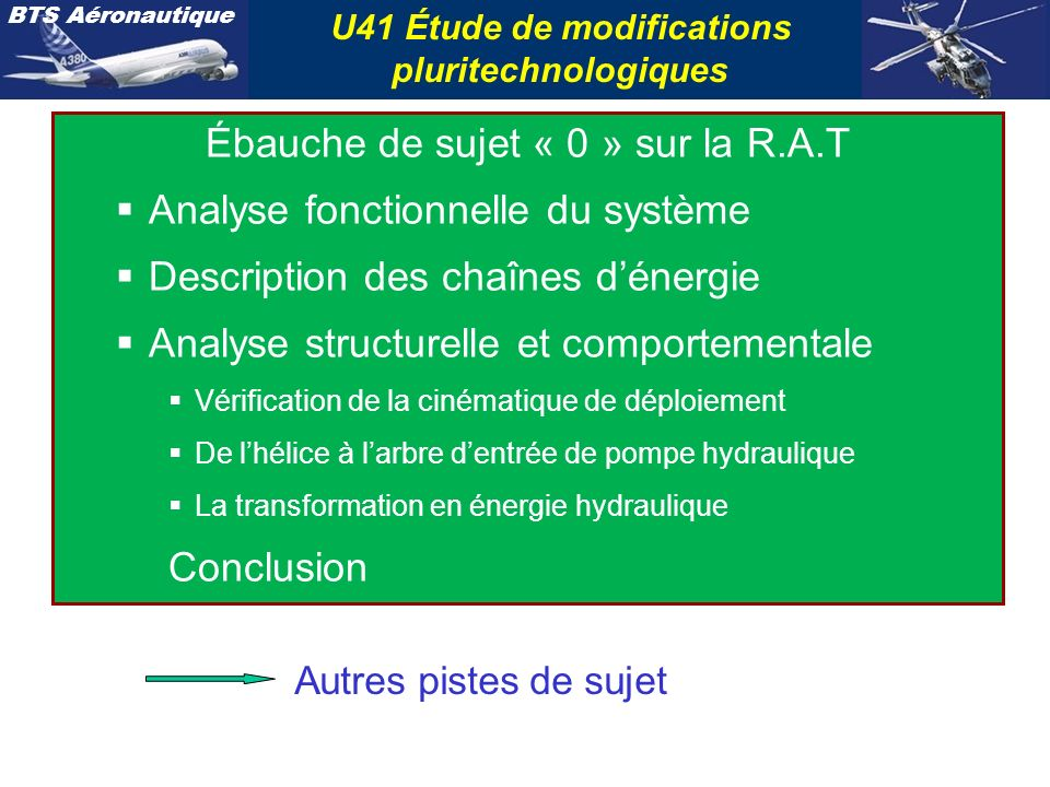 U41 Étude de modifications