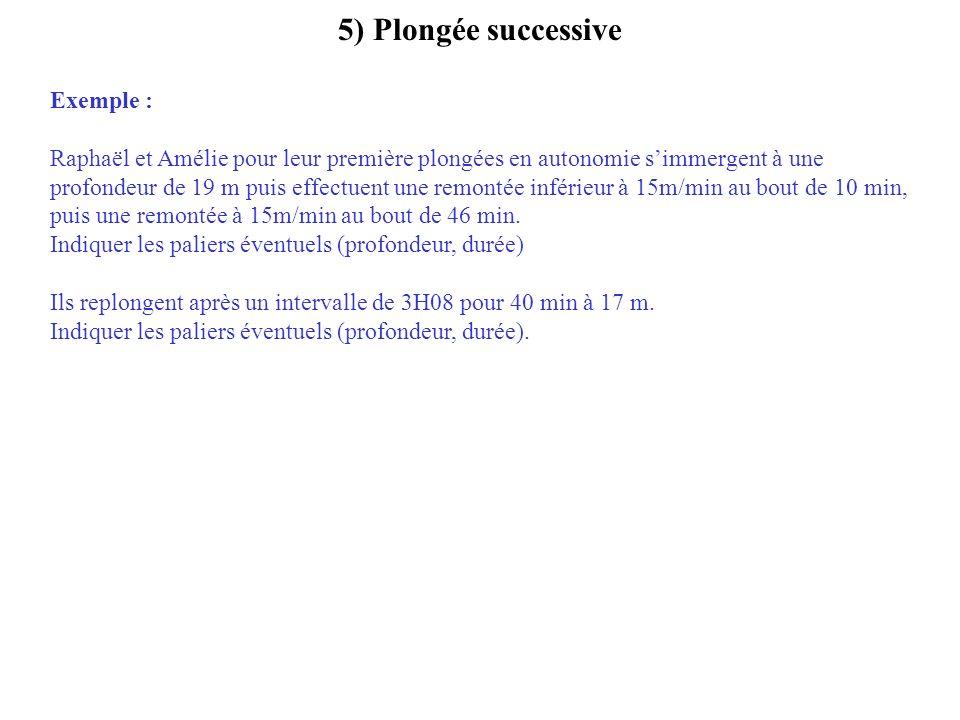5) Plongée successive Exemple :