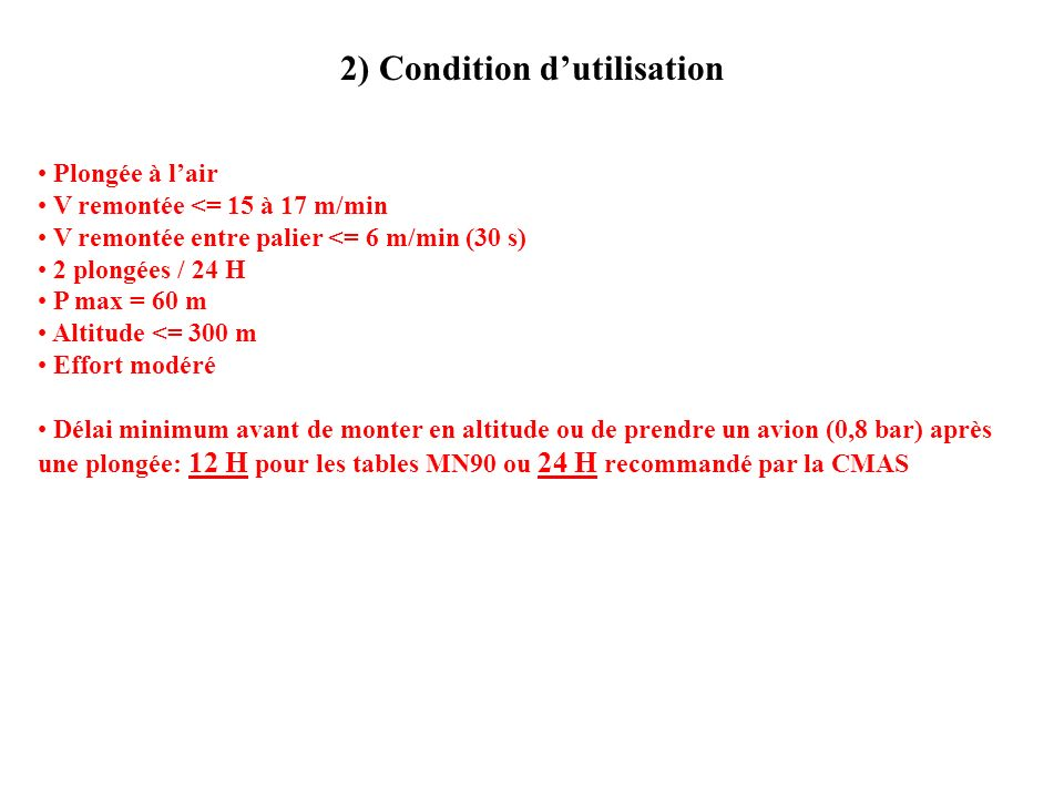2) Condition d'utilisation
