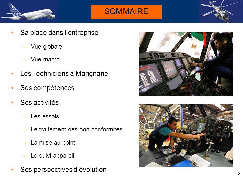 SOMMAIRE Sa place dans l'entreprise Les Techniciens à Marignane