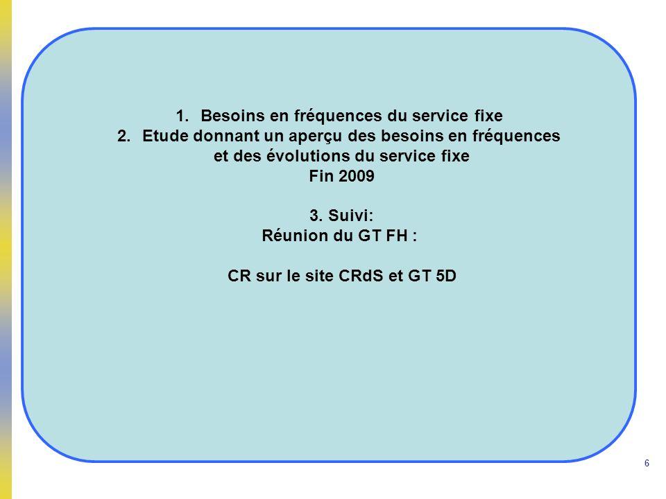 Besoins en fréquences du service fixe