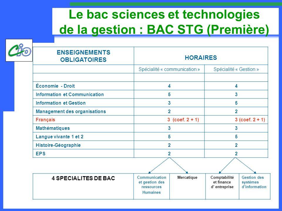 Le bac sciences et technologies de la gestion : BAC STG (Première)