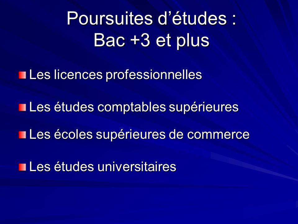 Poursuites d'études : Bac +3 et plus