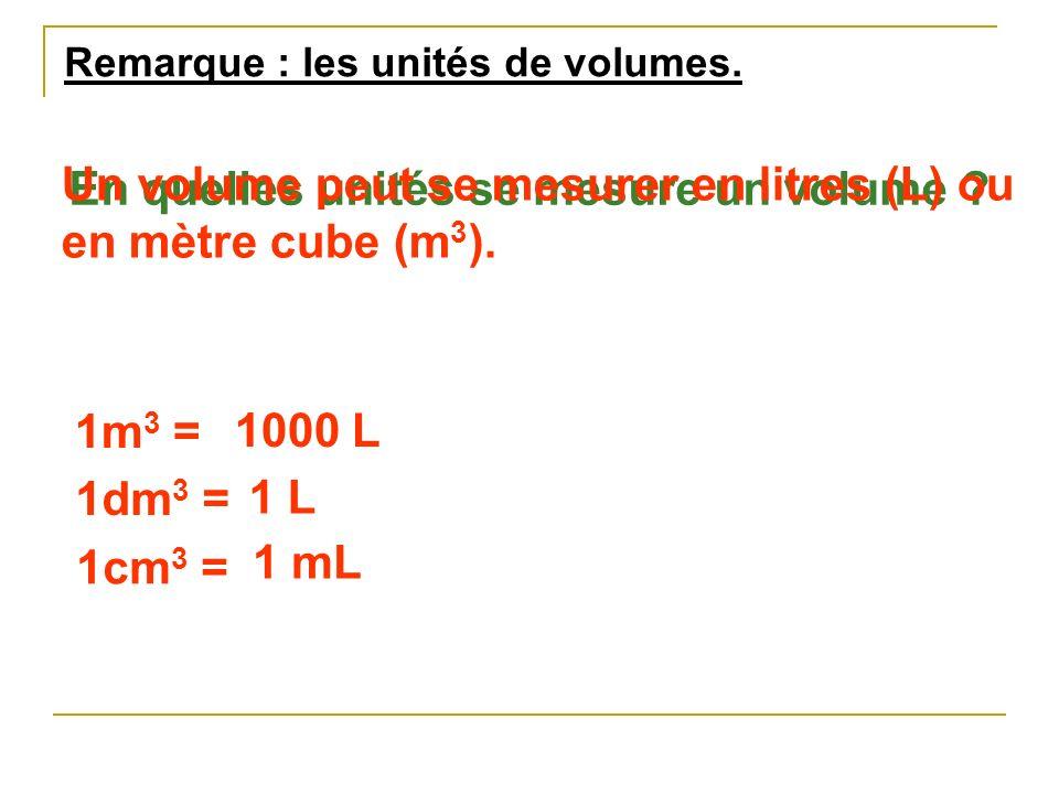 Un volume peut se mesurer en litres (L) ou en mètre cube (m3).