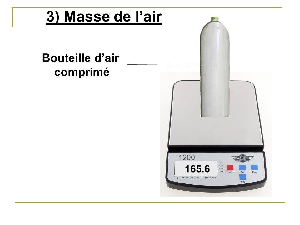 3) Masse de l'air Bouteille d'air comprimé 165.6