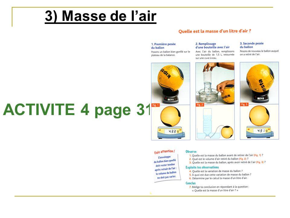3) Masse de l'air ACTIVITE 4 page 31