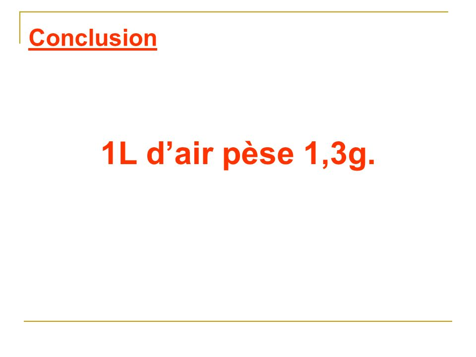 Conclusion 1L d'air pèse 1,3g.