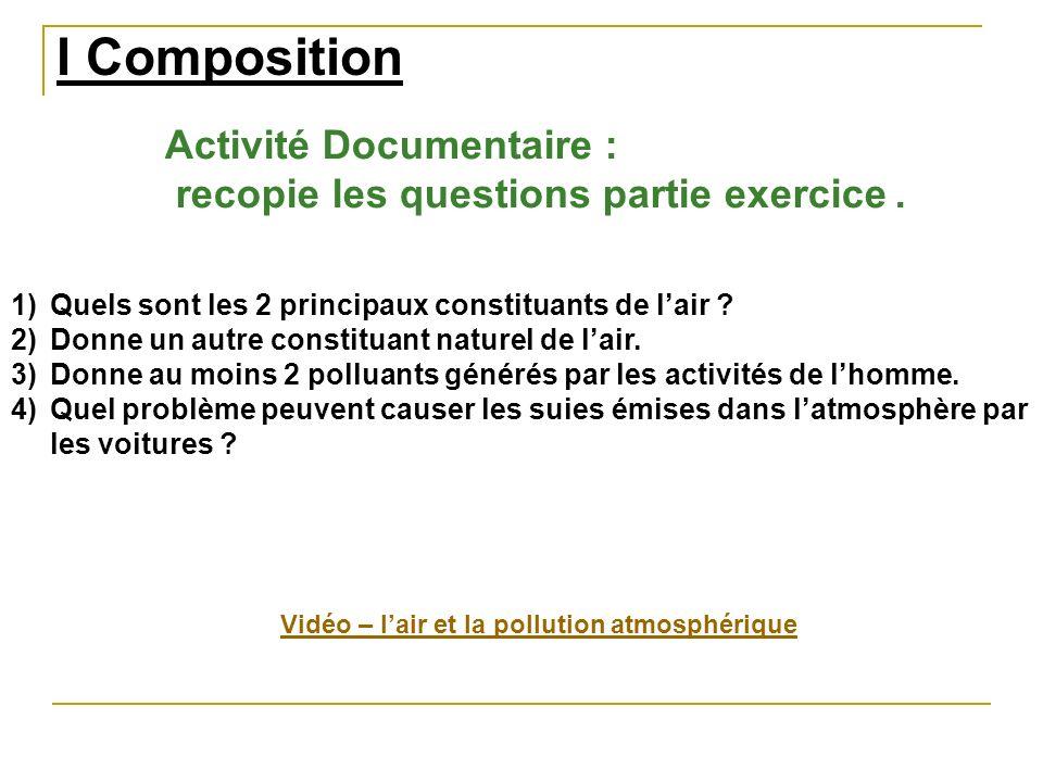 I Composition Activité Documentaire :