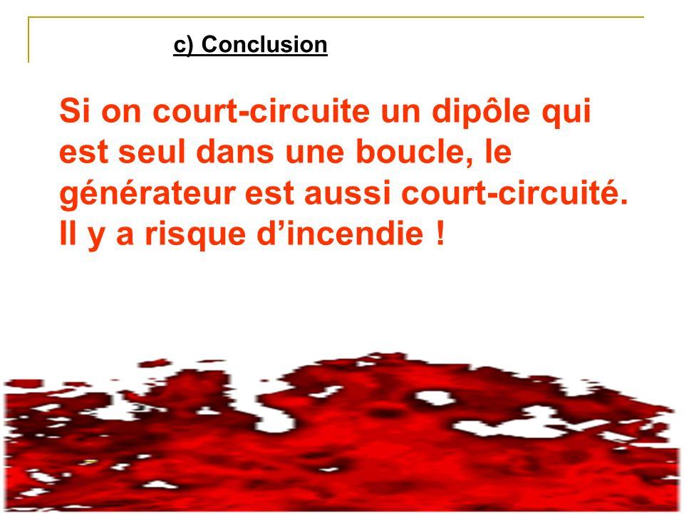 c) Conclusion Si on court-circuite un dipôle qui est seul dans une boucle, le générateur est aussi court-circuité.