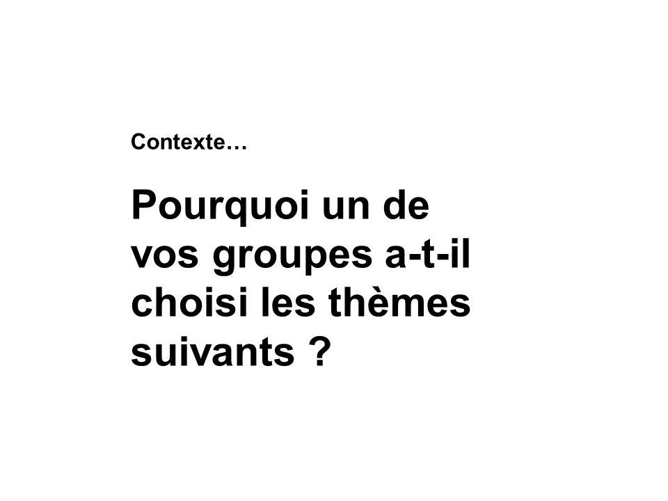 Pourquoi un de vos groupes a-t-il choisi les thèmes suivants