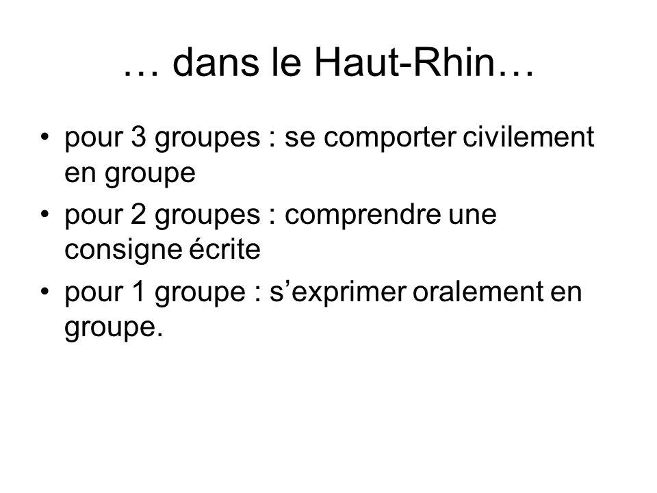 … dans le Haut-Rhin… pour 3 groupes : se comporter civilement en groupe. pour 2 groupes : comprendre une consigne écrite.