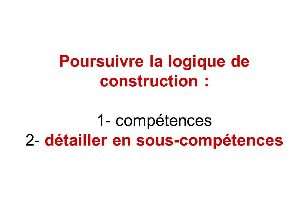 Poursuivre la logique de construction : 1- compétences 2- détailler en sous-compétences