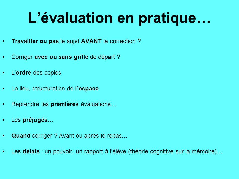 L'évaluation en pratique…