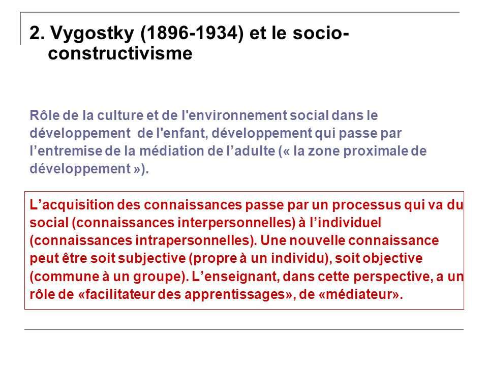 2. Vygostky (1896-1934) et le socio-constructivisme