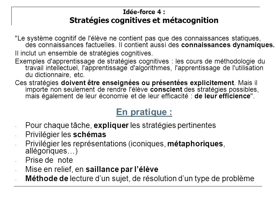 Stratégies cognitives et métacognition