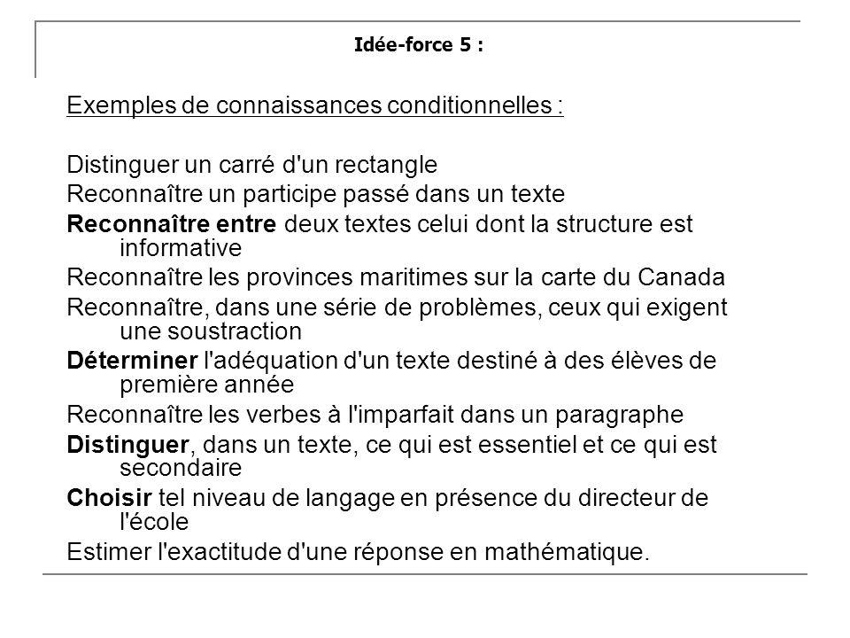 Exemples de connaissances conditionnelles :