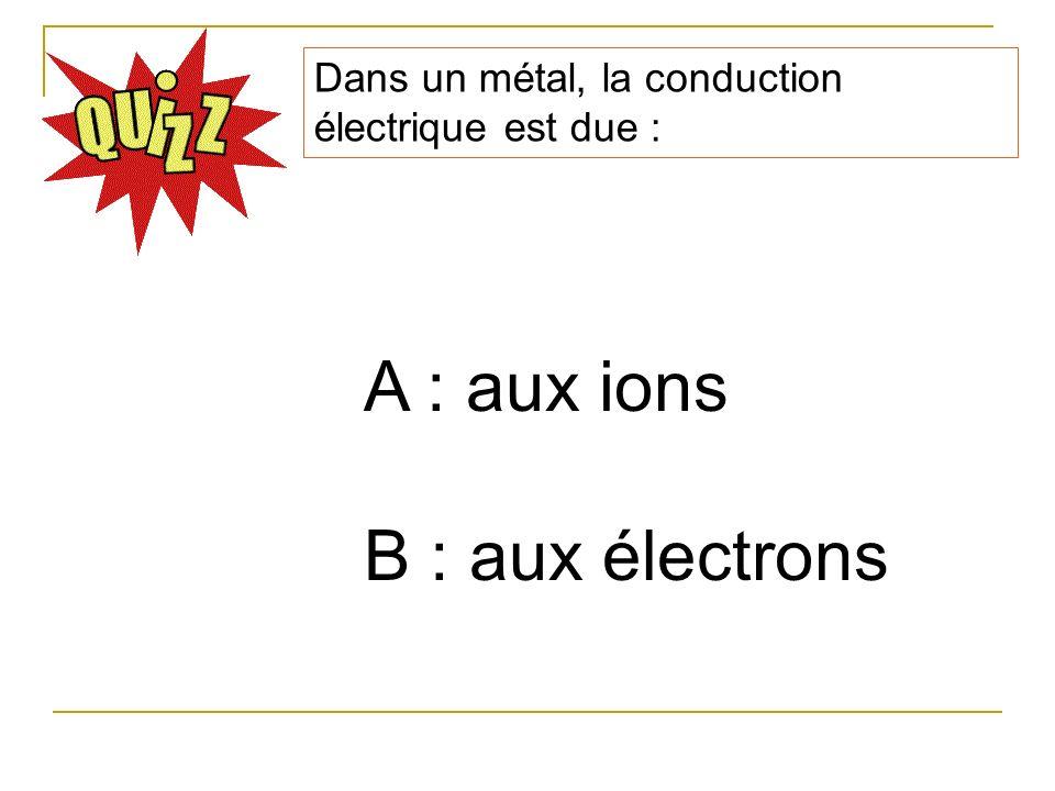 A : aux ions B : aux électrons