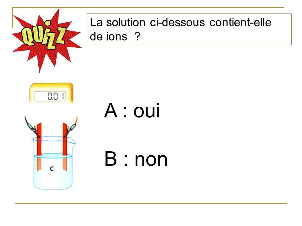 La solution ci-dessous contient-elle de ions